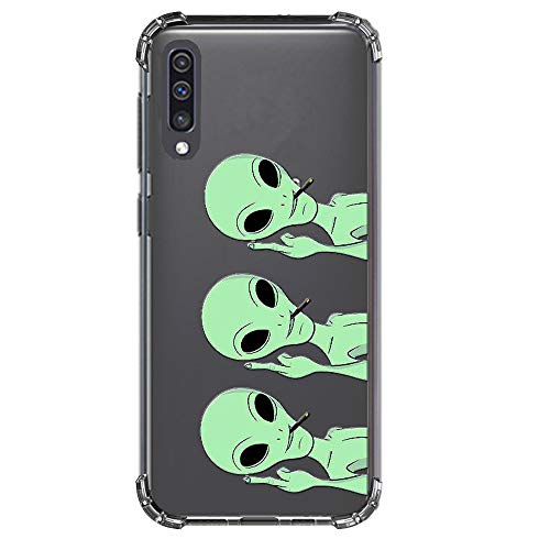 HUIYCUU Compatible with Galaxy A50 Case, Shockproof Anti-Slip Cute Green Animal Crystal Clear Design Pattern Funny Slim Fit Soft TPU Bumper Girl Women Cover Case for Samsung Galaxy A50, Aliens