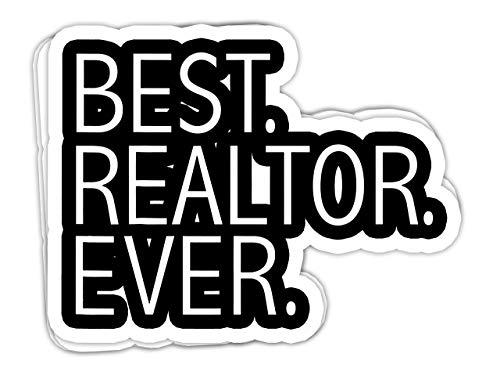 macknessfr Best Realtor Ever Funny Real Estate Agent Gift License - 4x3 Vinyl Stickers, Laptop Decal, Water Bottle Sticker (Set of 3)