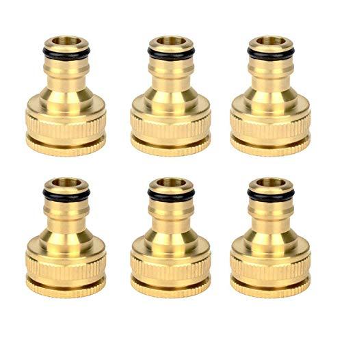 Zkenyao-Adaptadores de manguera 6 PCS, Tubo de manguera de agua de jardín de latón Conectores de grifo masculinos, Fácil de instalar (Color : Gold)