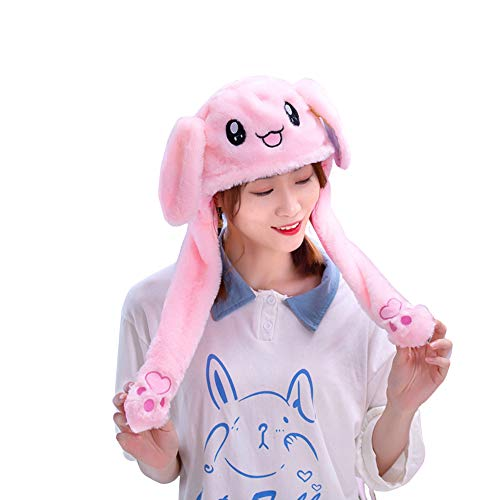 9108TDCQ Moving Ears Hat, Fluffy Funny Plush Hats Christmas Adult Role Playing Santa Claus Ears Mobile Kids Crazy Bunny Hats Mobile Ears Dancing Bunny Silly Kids Hat (Pink bunny)
