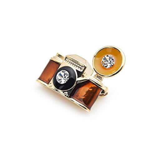 WYLYSD Brosche Retro Brown Emaille Kamera Broschen Frauen Männer Metall Party Bankett Brosche Pins Geschenke des Jahres