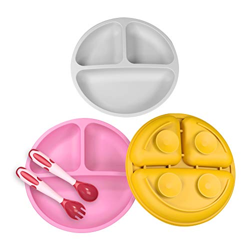 Baby Suction Plate with Self-Feeding Spoon Fork - BPA Free Infant Newborn Utensil Set for Self-Training, Suction Plates for Babies Toddlers, Dishwasher Microwave Safe (Gray, Pink & Orange)