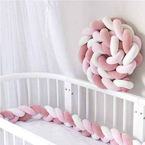RedKids Bettumrandung geflochten Bettschlange Bettumrandung 3 Weben Kantenschut Kopfschutz Stoßfänger Dekoration für Krippe Kinderbett,Länge 3M