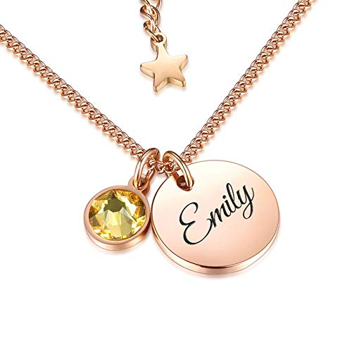 TMT Personalised birthstone necklace with gift box engraved for Daughter Mum Best Friend Girlfriend Birthday 18th 21th 30th 16th 13th Initial Name Letter pendant