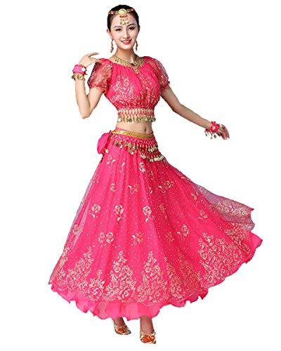 Grouptap Bollywood rosa indische Frauen Damen Phantasie Anarkali Salwar Kameez Kleid arabische Prinzessin Bauchtanz Rock Outfits Kostüm (Rosa, 150-170 cm, 45-70 kg)