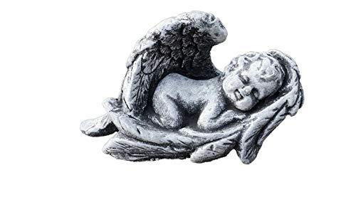 Stone and Style Steinfigur Kleiner Baby Engel im Flügel Grabschmuck frostfest wetterfest