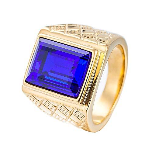 PMTIER Hombres 18K Oro Chapado Negrita Acero Inoxidable Anillo con Piedra Azul Talla 19