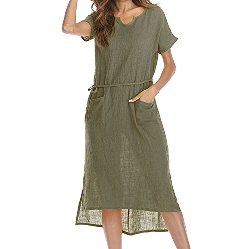 Best Price ✩HebeTop Women Long Sleeve Loose Knit Maxi Dresses Casual Long Dresses with Pocket Gree...