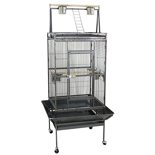 SUPER DEAL PRO 68'' 2in1 Large Bird Cage with Rolling Stand Parrot Chinchilla Finch Cage Macaw Conure Cockatiel Cockatoo Pet House Wrought Iron Birdcage, Black