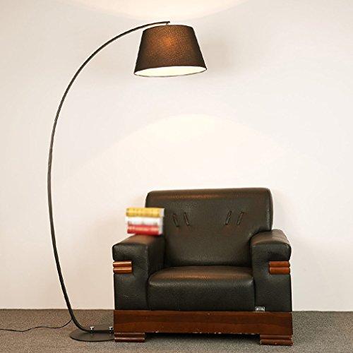 MILUCE Lampadaire Lampadaire den chambre de façon créative sur les feux de pêche à LED en noir et blanc (Couleur : Black+black)