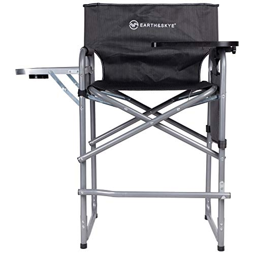EARTH&SKYE Tall Director Chair Foldable Director Chair Bar Height   Makeup Chair for Artists Portable   Durable Steel Frame with Oxford Fabric – Supports 300 lbs