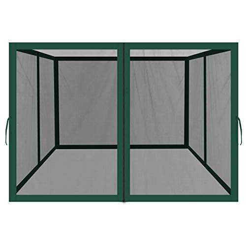 BenefitUSA Replacement Mosquito Netting for 8' x 8' Gazebo, Zippered Mesh Sidewalls Only, Pack of 4 (8' L X 6' W for 8' x 8' Gazebo, Green)