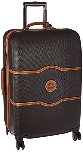 DELSEY Paris Chatelet Hard+ Hardside Luggage with Spinner Wheels, Chocolate Brown, Checked-Medium 24 Inch