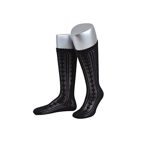 ALMBOCK Trachtenstrümpfe Damen schwarz - reine Baumwollsocken - Halterlose Strümpfe für Frauen