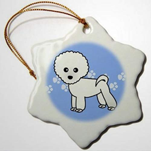 BYRON HOYLE Cute Bichon Frise Blue Paw Print Background Porcelain Snowflake Ornament Christmas Ornaments Pandemic Xmas Decor Wedding Ornament Holiday Present