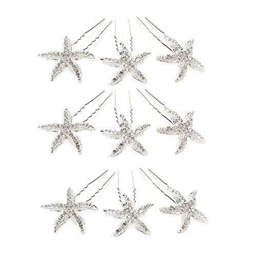 TrifyCore 10Pcs Mode stilvolles Metall Seestern Haarspange Kristall Strass Seestern Haarpin Schmuck Haarschmuck für Mädchen-Frauen