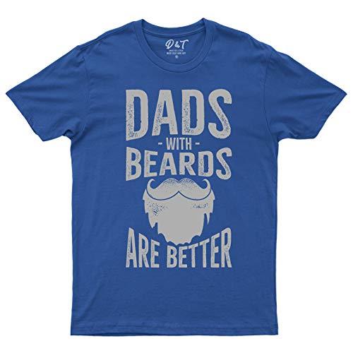 Dad with Beard are Better Fathers Day - Camiseta para el día del padre, regalo de cumpleaños Azul azul cobalto 3X Pecho 132 cm