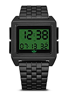 adidas Originals Watches Archive_M1. Men's 70's Style Stainless Steel Digital Watch with 5 Link Bracelet (36 mm) - Gold/Black by NIXON