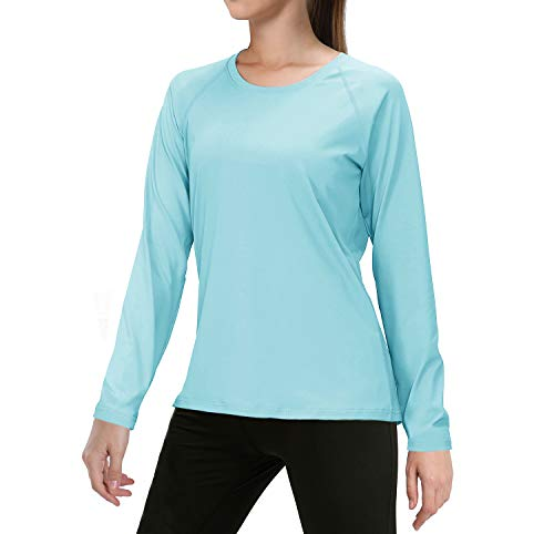 EKLENTSON Damen Atmungsaktives UV UPF 50+ Sonnenschutz Langarm Funktions T-Shirts Bluse, Blau