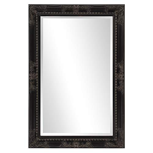 Howard Elliott Queen Ann Rectangular Hanging Wall Mirror, Beveled, Vanity, Antique Black, -