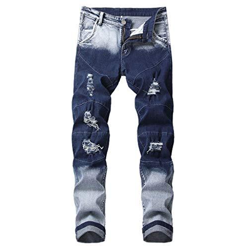 Julhold Jeanshose Jogginghose Outdoorhose Männer Modern Slim Fit Persönlichkeit Gerade Lässig Zerrissene Jeans Jeanshose (Blau-1,28)