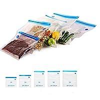 真空ジッパーバッグ 25個入り 真空フードシーラーバッグ 食品ストレージ 再利用可能 ダブルレイヤーファスナー付き 食品の鮮度を5倍に向上