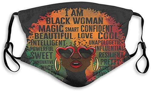 Secutoryang Cloth Face Mask Washable African American Queen History Month Halloween Christmas Print Anti Filter Dust Fabric Mouth Mask Pollution, A1, One Size