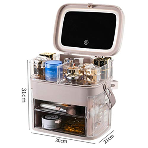 XMZFQ Maquillage Acrylique Organisateur Boîte de Rangement avec LED Vanity Miroir et Tiroirs Bijoux imperméable et Anti-poussière Présentoir pour Salle de Bains Dresser,Rose