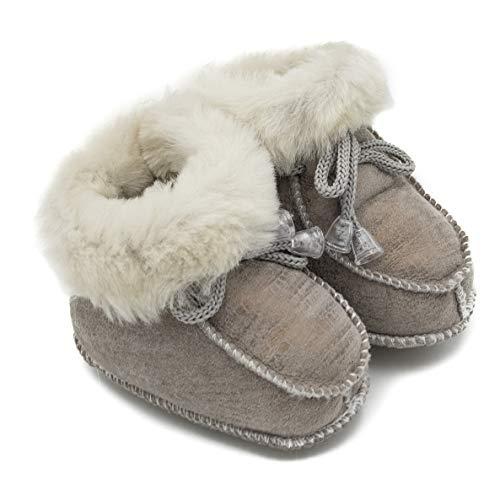 absoft Baby-Schuh Stiefel Unisex Warm für den Winter Leder Milk Model 02 (XL (18-24 Monate), Milk)