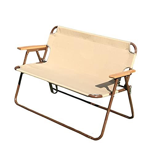 TYM Outdoor-Doppel-Strandstuhl, Doppel-Aluminiumlegierungs-Klappstuhl, doppelter Freizeit-Holzsessel, Dickes Oxford-Tuch-Material, geeignet für Innen- und Außenbereich