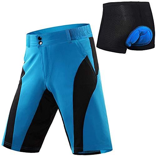 SHUIBIAN Pantalon Corto Ciclismo Hombre Pantalon MTB Pantalones Ciclista Acolchado con Calzoncillos Ciclismo con Badana