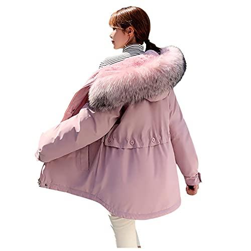 YESMAN Chaqueta de plumn para mujer y nia, con capucha, corto, a prueba de viento, con cremallera clida para invierno, chaqueta con capucha de gran tamao, rosa, XL