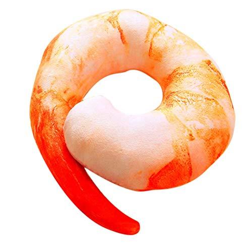 Vektenxi Shrimp Nackenkissen Lustige Nackenkissen Mobile Kissen Essen Shrimp Aubergine Chili Pfeffer Pfanne Typ Lustige Geschäftsreise Mittagspause Travel Red Shrimp Kreativ und nützlich