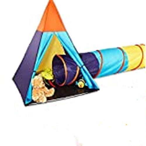 Free Limit 150 cm SPIELZELT mit Tunnel, Kinder Indianerzelt Tipi Wigwam Zelt mit 180 cm Kriechtunnel