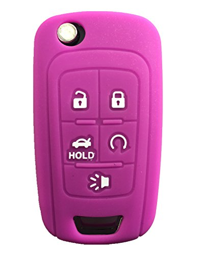 KAWIHEN Silicone Keyless Entry Case Cover Smart Remote Key Fob Cover Protector Fit for Chevrolet Camaro Cruze Equinox Impala Malibu Sonic OHT01060512 KR55WK50073(Purple)