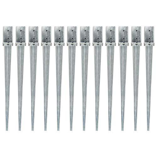 vidaXL 12x Erdspieß Bodenanker Bodenhülse Einschlagbodenhülse Einschlaghülse Erdanker Pfostenträger Silbern 8x8x91cm Verzinkter Stahl