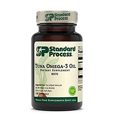Standard Process Tuna Omega-3 Oil EPA and DHA - Whole Food Emotional Support, Brain Health and Brain Support, Eye Health, Skin Health and Hair Health with Tuna Oil - Gluten Free - 120 Softgels