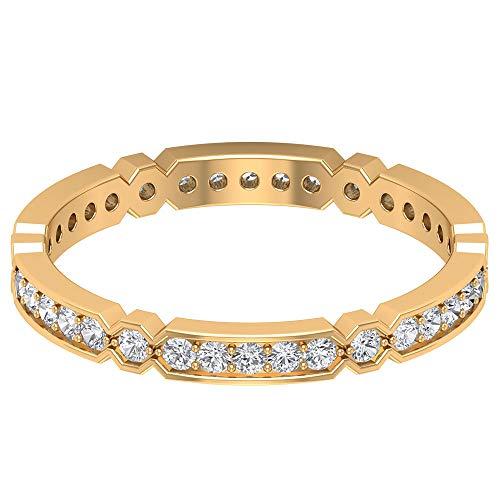 Anillo de oro con diamante certificado SGL de 0,45 quilates, declaración de mujer, anillo de eternidad, clásico de novia, anillo de boda, único geométrico, 14K Oro amarillo, Size:EU 49
