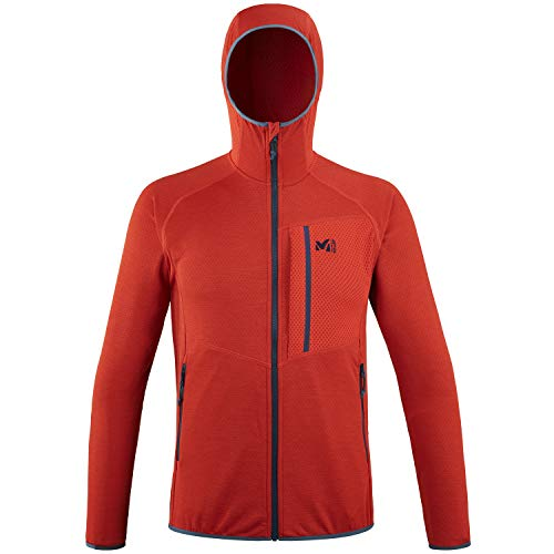 Millet - Lokka Hoodie M - Leichte Fleece-Jacke für Herren - Kapuze - Bergsteigen, Wandern, Trekking, Lifestyle - Rot
