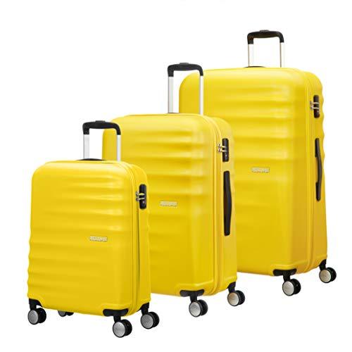 American Tourister WaveBreaker - Juego de 3 Maletas, 96 litros, Color Amarillo...