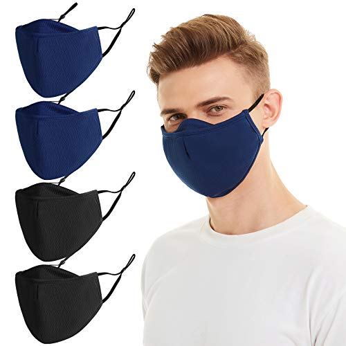 Face Mask Reusable and Washable with Filter Pocket of Man, Woman and Teenager 4PCS