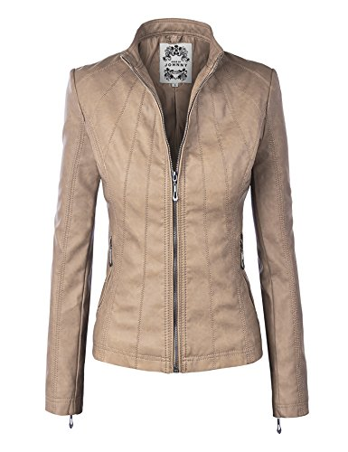 Made By Johnny MBJ WJC877 Womens Panelled Faux Leather Moto Jacket L Khaki