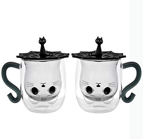 Creativo Gato Taza De Agua Dibujos Animados Taza De Agua Gato Lindo Creativo Taza De Café Copa Casual Copa De Vidrio De Pareja Taza De Pata De Gato,B(2pcs)