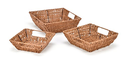 Trademark Innovations Set of 3 Square Wicker Look Baskets With Built In Handles