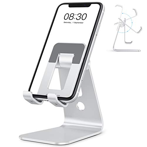 "OMOTON C3 Cell Phone Stand for Desk, Larger and Exceptionally Stable, Adjustable Phone Cradle Holder with Bigger Body & Longer Arm, Compatible with iPhone, Tablets (7-10"") and More, Silver"