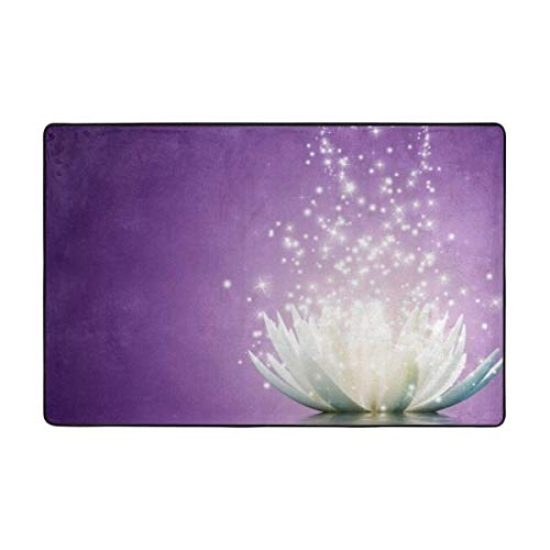 Lotus Flower Purple Area Rugs Living Room Bedroom Kitchen Dining Hallway Office Door Carpet with A Non-Slip Backing Super Absorbent Mud and Water Door Rugs 36x24in