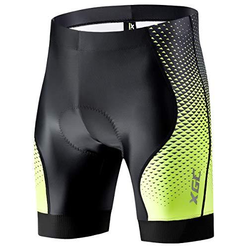 Herren Kurze Radlerhose und Radunterhose Radsportshorts Fahrradhose für Männer elastische atmungsaktive 4D Schwamm Sitzpolster mit Einer hohen Dichte (XL, Black_Green)
