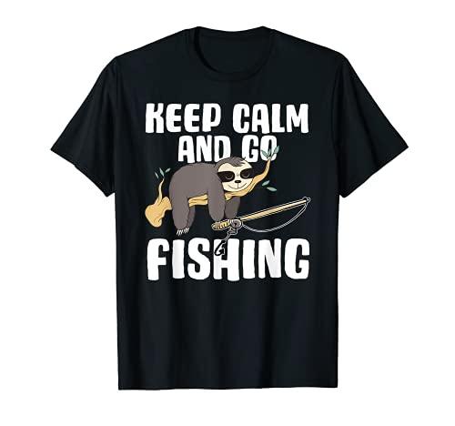 Herren Angeln I Lustiger Spruch Angler Angel-Zubehör Papa Keep Calm T-Shirt