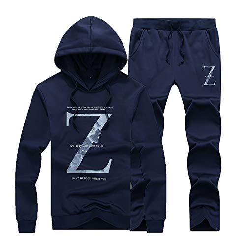 Fashion Hoodies Set, SFE Men's Casual Long Sleeve Printing Hoodie Sports Suit Tops Pants Set Dark Blue