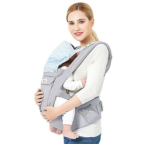 Mybabies Porte-bébé Ergonomique et Physiologique 3 en 1 avec Siege à Hanche Dorsal et Ventral Pur Coton pour Nouveau né de 3 à 48 Mois (3,5-20 kg)